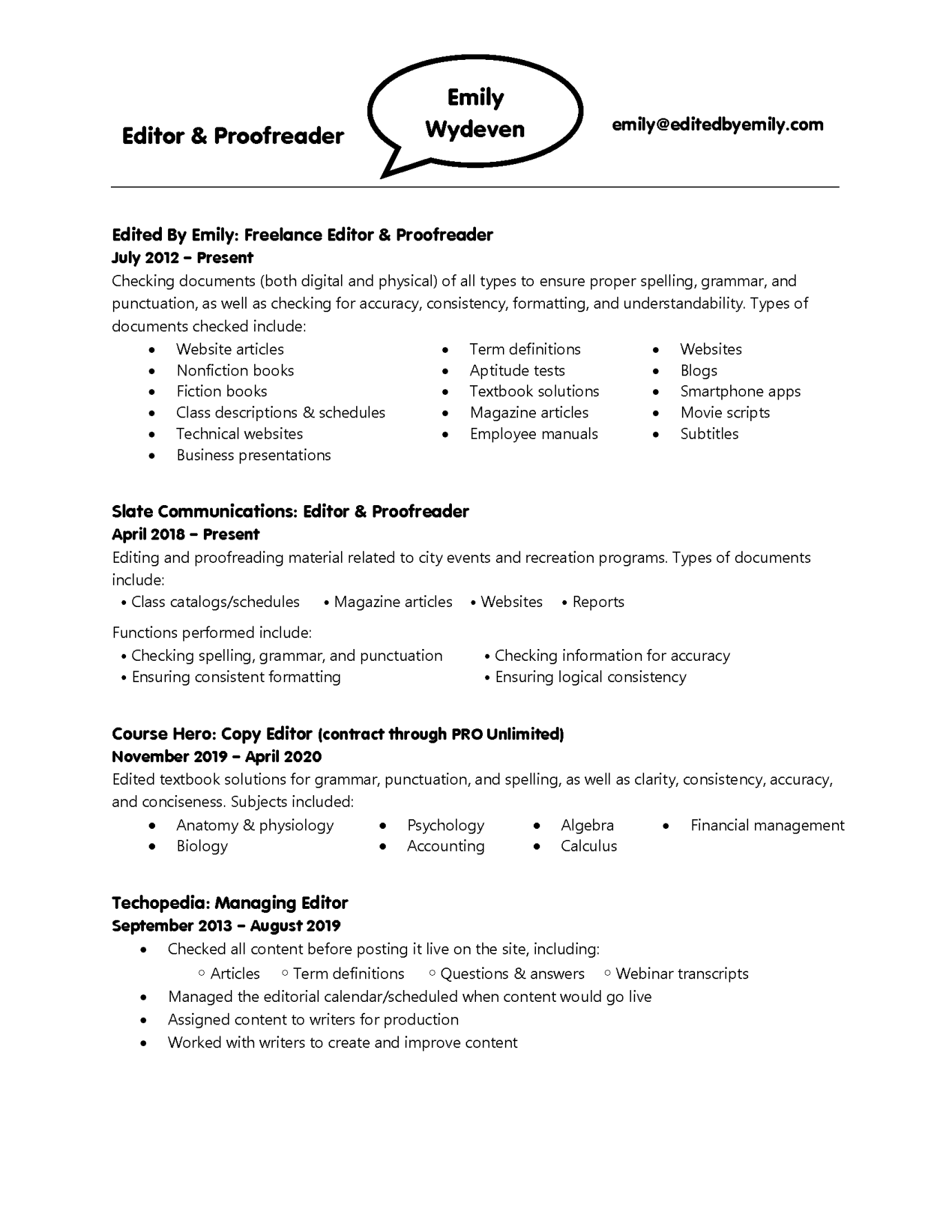 Emily Wydeven resume